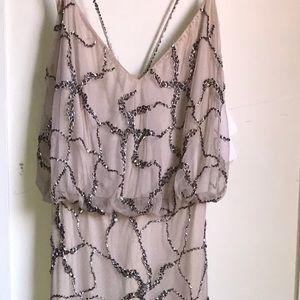 Adrianna Papell Nude Beaded Long Dress SZ: 2